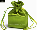 Green Silk Satin Bag, Drawstring Bag