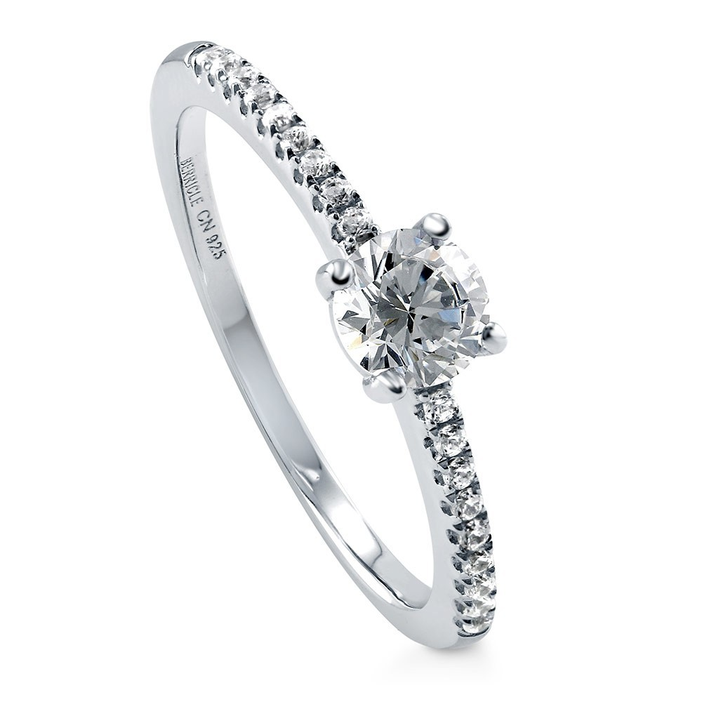 925 Sterling Silver Round CZ Solitaire ring malaysia R500430