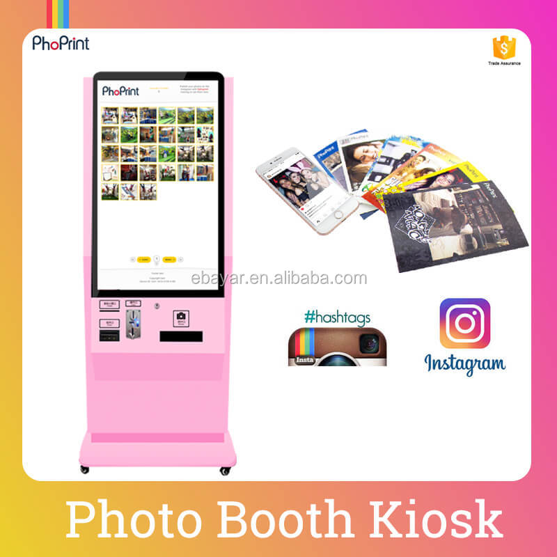 Floor Stand LCD Touch Screen Hashtag Printer Business Vending Machine With Play Video Online