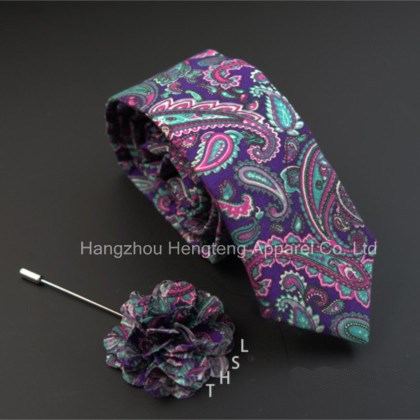 100% Silk Tie Hanky Flower Lapel Set with Gift Box package