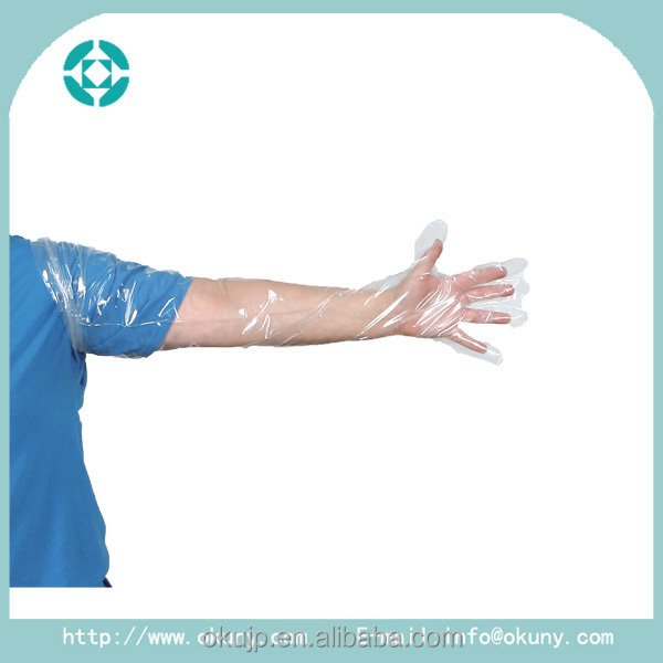 Shoulder length veterinary disposable long sleeve glove for animal use