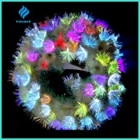 2016 new artificial multicolor film fiber optic christmas wreath for christmas decoration
