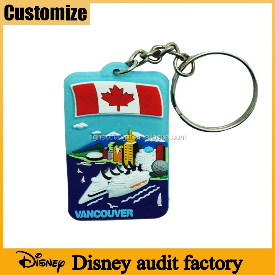 Disney audited factory Canada vancouver souvenirs gift soft pvc silicone rubber customized keyring