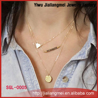 Fashion jewelry multi-layer alloy geometry smooth triangle Necklace