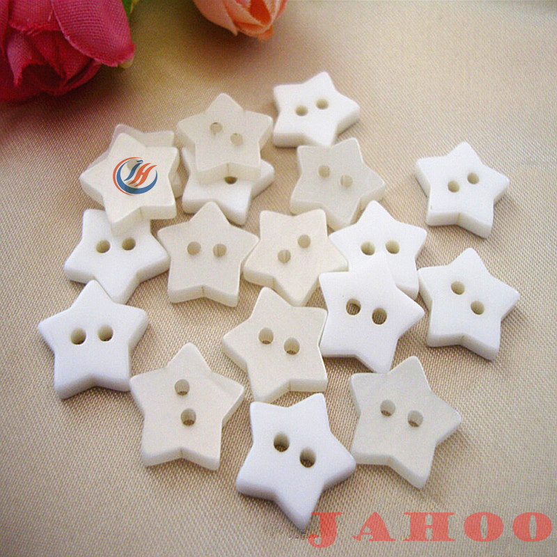 Special White Star Shape Plastic Sewing Button