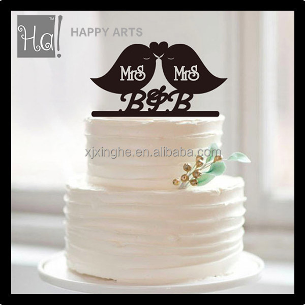 2016 New Personalized Love Birds Kissing Acrylic Wedding Cake Topper
