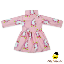 Pink Unicorn Print Fashion Stand-Up Collar Kids Winter Coat Jackets Long Style Double Breasted Baby Girl Coat