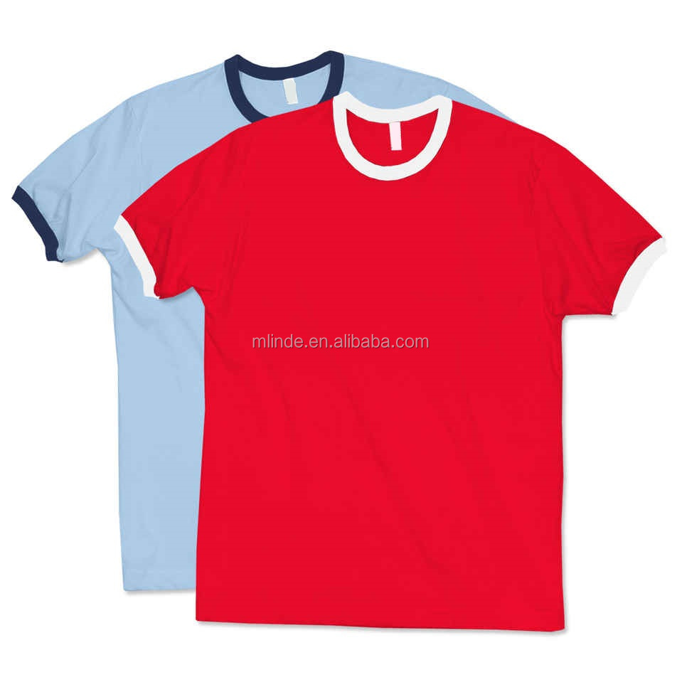 Top Selling Couple T Shirts Online Shop American Apparel Ribbed Cuffs Ringer Bulk Wholesale T-shirts 100% Cotton