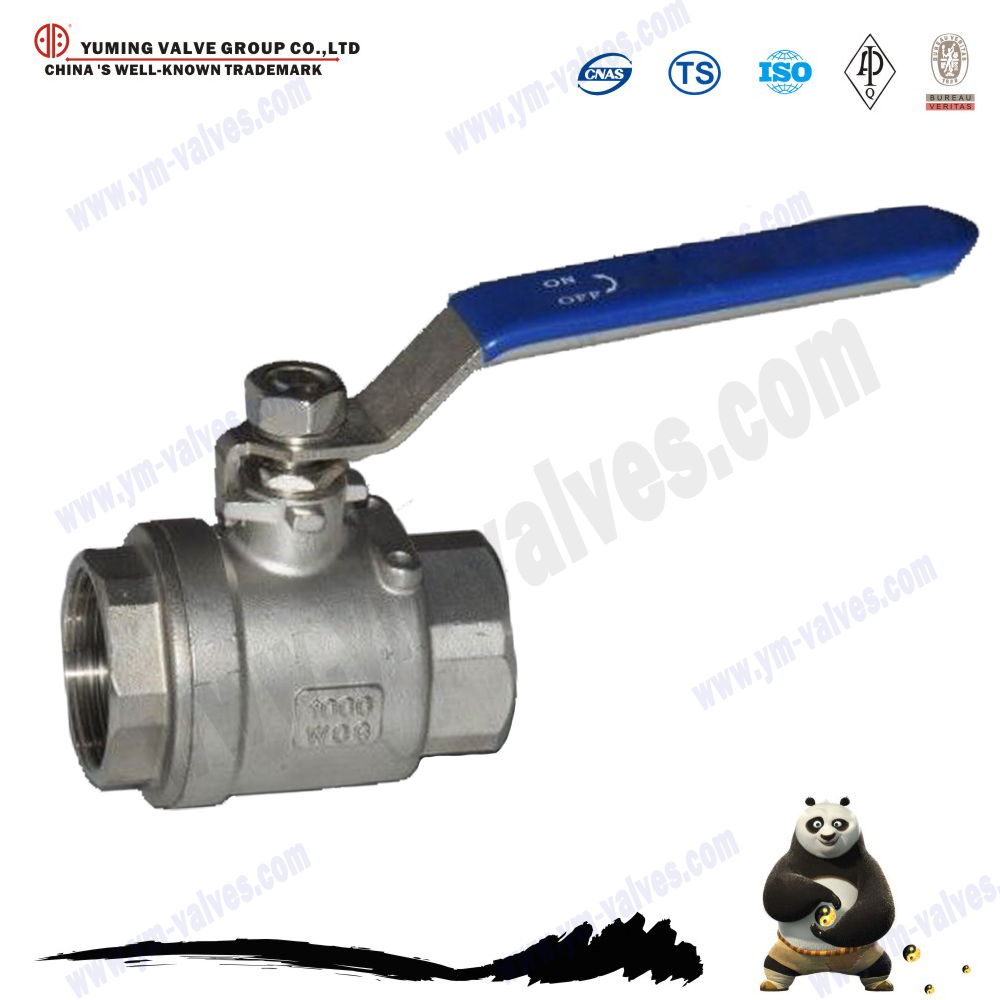 API Standard 3 inch 1000 WOG Thread type stainless steel full port floating ball valves with handles
