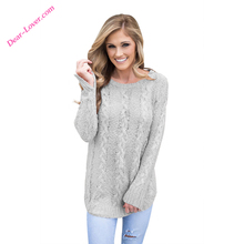 Gray Brief Cable Knitted O-Neck Fall Winter Fashion Women Sweaters