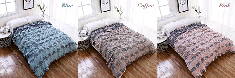 The most popular 100% cotton jacquard elephant gauze blanket and bed sheet
