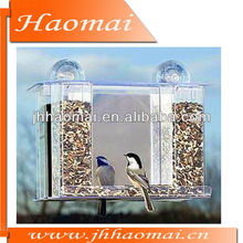 Clear window bird feeder Acrylic songbird feeder bird feeder with mirror paper