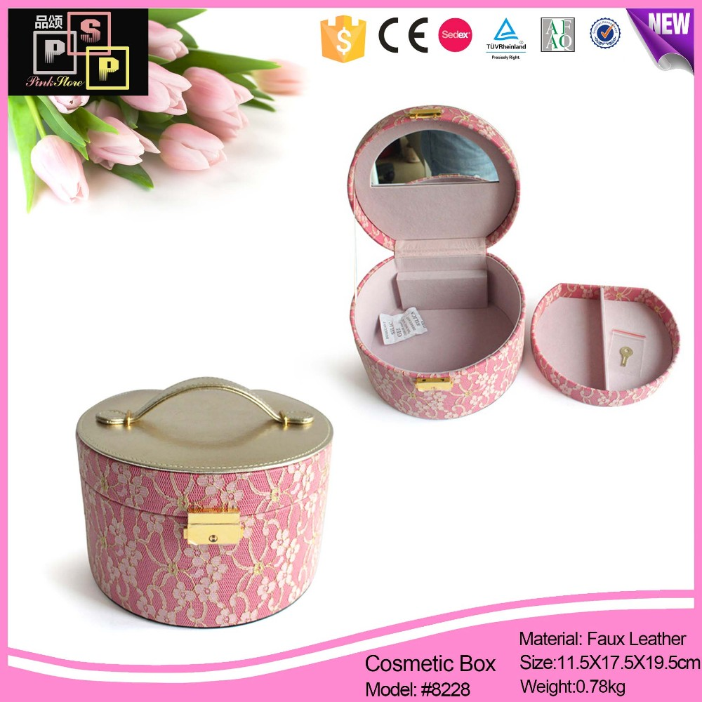 Luxury handmade round pink leather cosmetic box