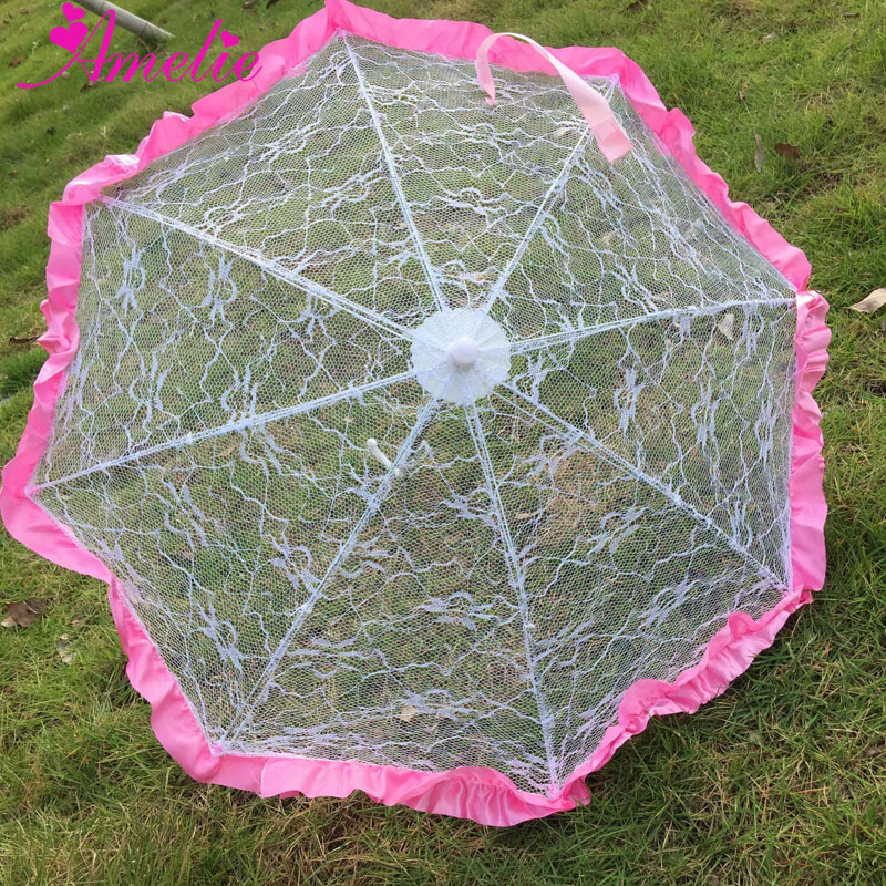 Hand Sewed Flower girl Lace Umbrella with Pink Edge Party Wedding Decoration Umbrella Gifts