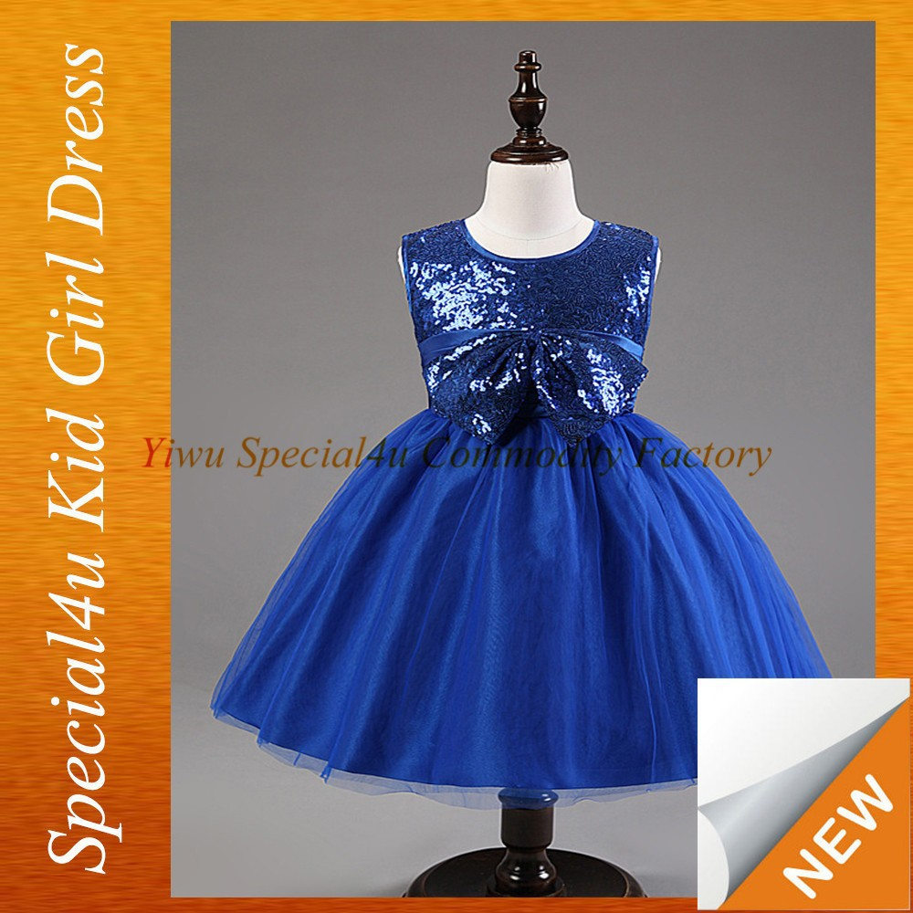 2015 Wholesale cheap new arrival ivory fashion dress blue Sequin bow design for ball gown for kid girls Lyd-417