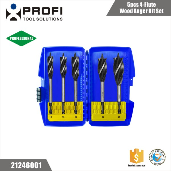 Quality 5pcs 1/4 Quick Change Woodworking Drill Bits In Plastic Box
