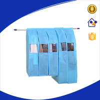 Reusable blue non-woven foldable garment bag,non woven suit cover bag with transparent PVC window