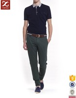 Navy Blue Men Polo Shirt Cotton with Fake Pocket