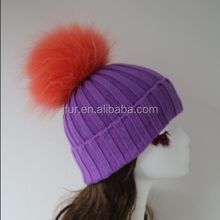 Women Handmade Knit Real Fur Ball Cap Adjustable Ski Cap Gifts