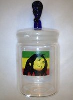 Glass on Glass Jar with skull head and Bob marley Picture