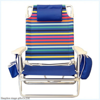 Outdoor Camping Folding Beach Chair with pillow