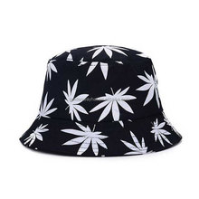 Wholesale Custom Cotton Twill Bucket Hat With printed leaves logo fisherman hat