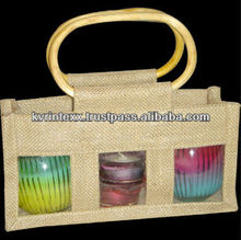 100% Eco-Friendly Three bottle Jute Wine Bag With PVC