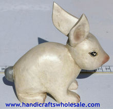Wooden Rabbit Hand Carved Figurine, Bunny Home Decor, Decorative Carvings Statues of Ecuador