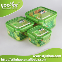 Hot Sale China Manufacturer 3 in 1 set Different Size Plastic Rectangle Airtight Clear Waterproof Plastic Food container