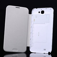 Hot sale battery back cover flip leather case for Samsung Galaxy Note 2
