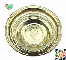 wholesale restaurant equipment stainless stee cutleryl trendy Milan round food fruit polish serving tray