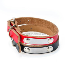 Popular Genuine Leather Pet Collars for Dogs with Metal Sheet Can Write Name