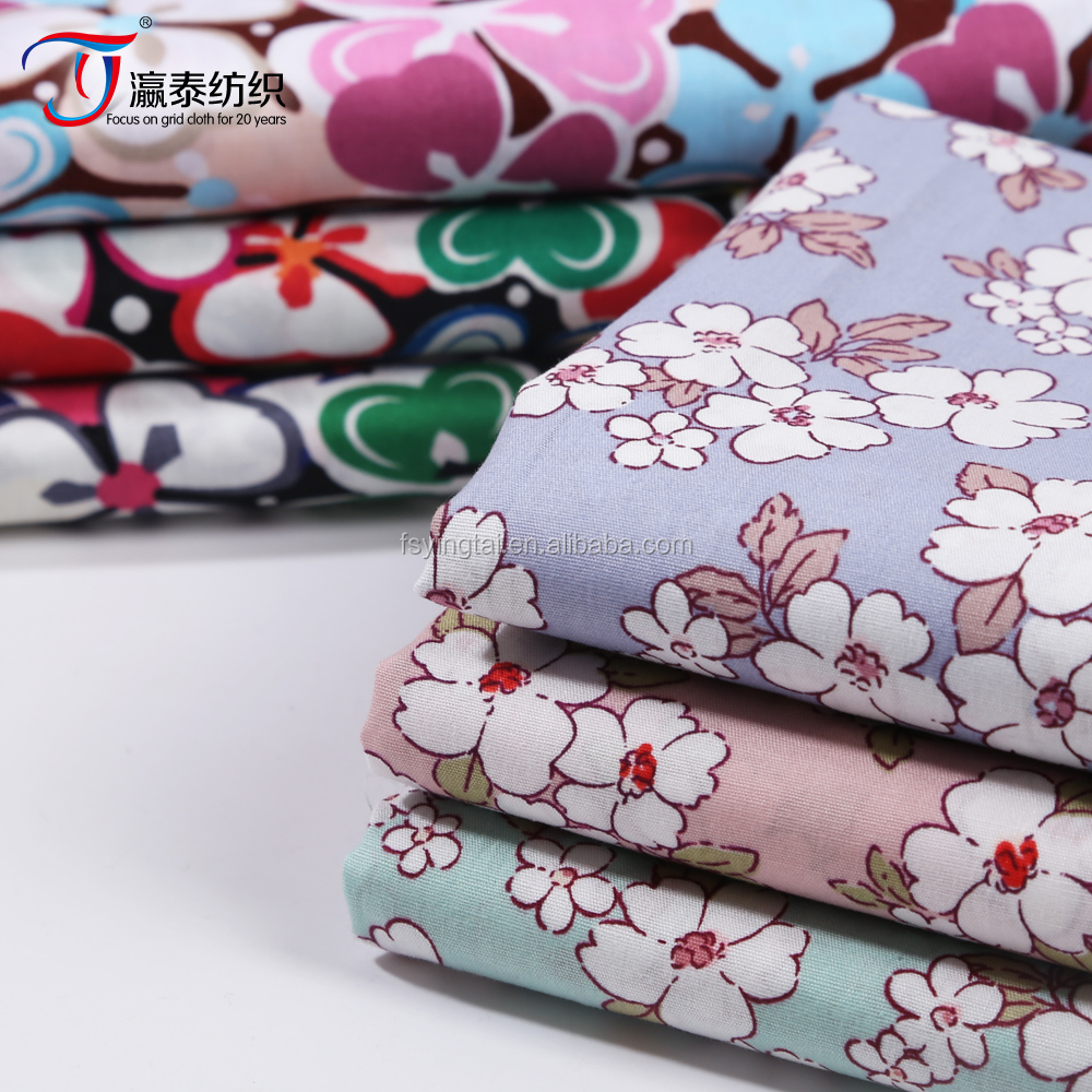 High quality print on textile,flower pattern 100% cotton poplin fabric for Lady Garment