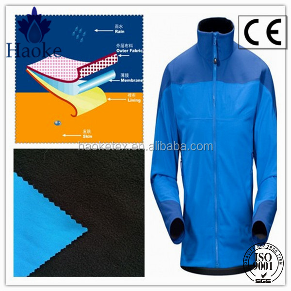 pongee spandex bonded fleece fabric for softshell jacket and climbing wear