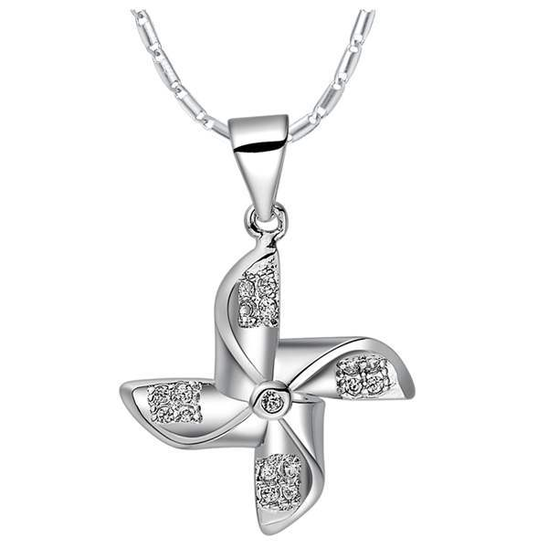 Brass Jewelry European And American Fashion <strong>18</strong> <strong>K</strong> White Gold Wind Turbines Windmill Pendant Necklace Wholesale