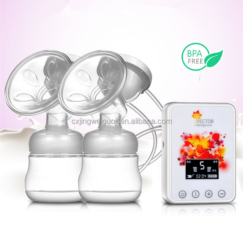 double rechargeable battery portable automatic bpa free silicone breast pump electric