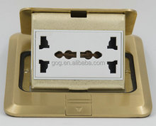 Brass Pop up Floor Socket Box with 13A UK Socket