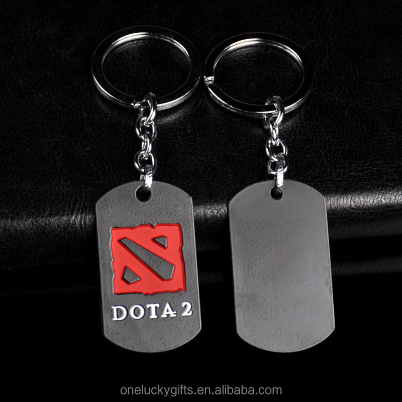 Popular Metal Game Key Holder Dota 2 Figure Cartoon Anime Key Chain Ring Legend Badge Keychain