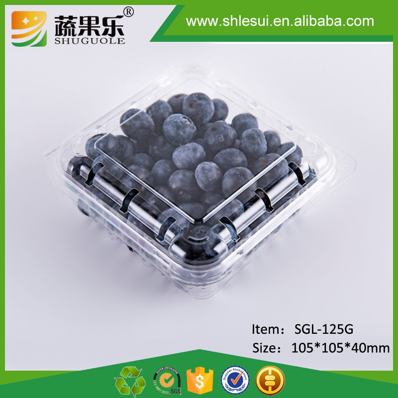 Food Grade Clear PET Plastic Fruit Punnet Container For Strawberry Blueberry