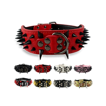 Mastiff Large Breeds Dog Collar Leather Spiked Studded Custom Leather Dog Collars