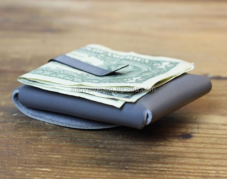 Fashion gray color snap money clip wallet for men genuine leather clip card holders