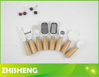 KW-W08 kitchen tool set with wood handle, mini kitchenware set, 8-pieces cooking utensil set,