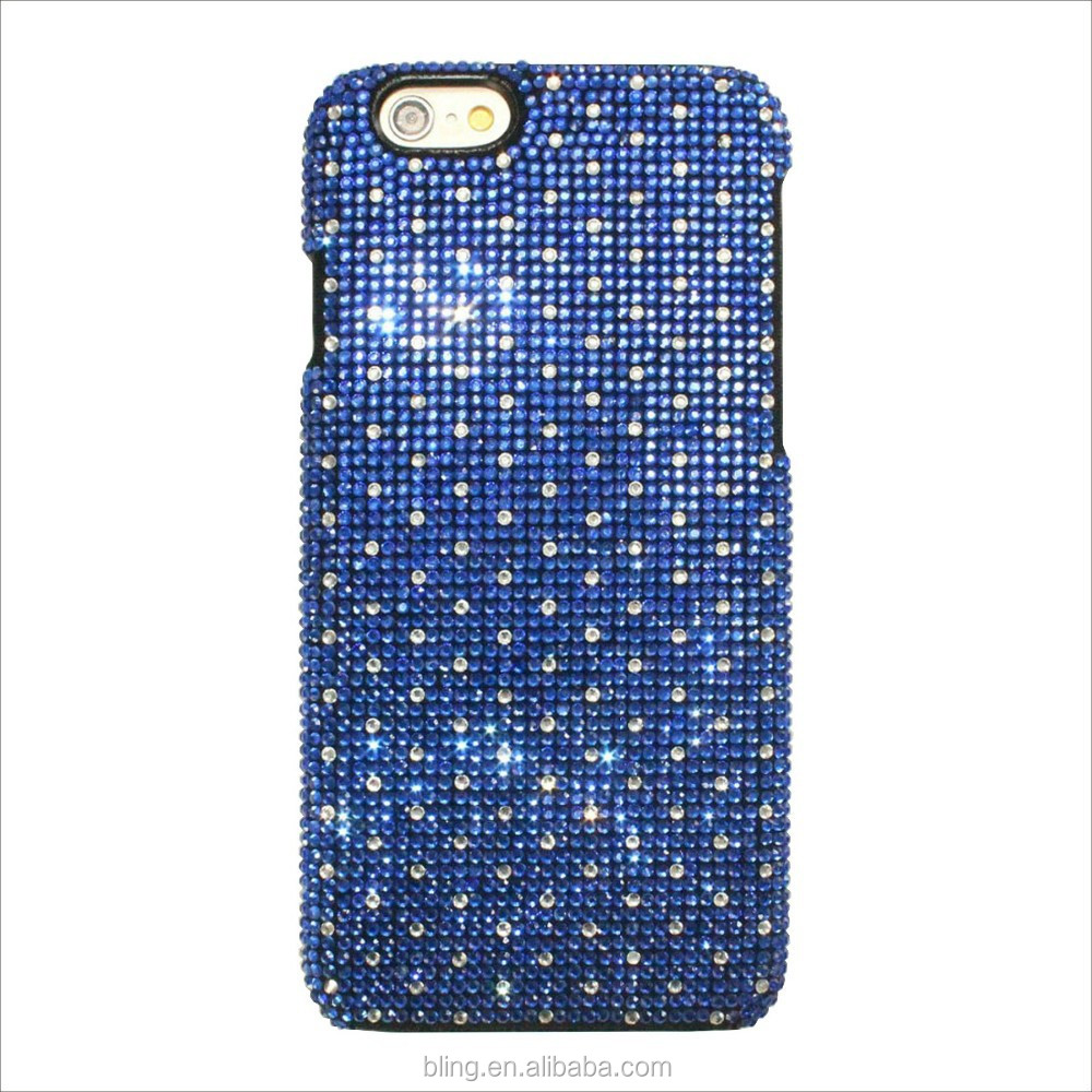 Luxury Blue sky and White Polka dot pattern hard shell plastic diamond cell phone case for iphone 5