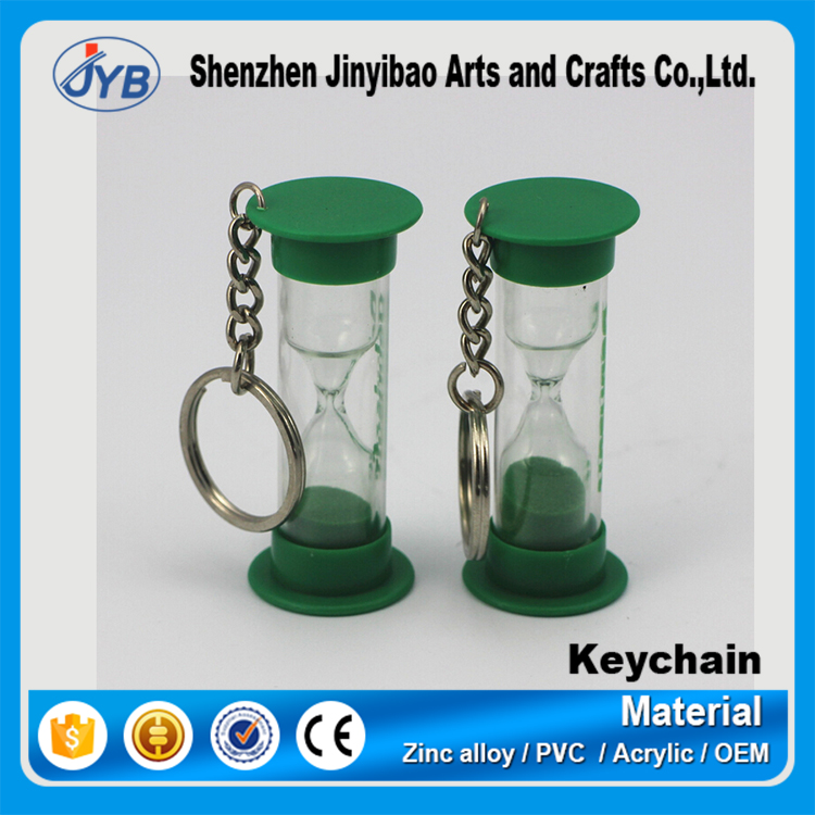 innovative promotional gift custom hourglass keychain
