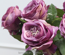 Italy Purple Rose silk flowers artificial for wedding decoration