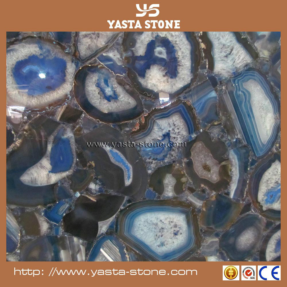 On Sale Polished Blue Onyx Agate Stone Blue Agate Tile