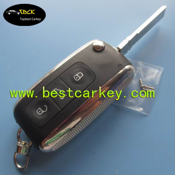 Topbest high quality 3 button car key blanks with HU66 key vw