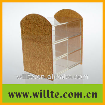 Elegant gold acrylic jewelry case display stand