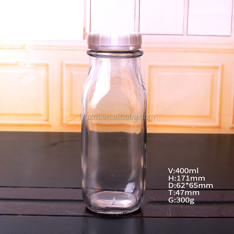 Square custom 400ml 14oz glass milk bottles for sale with cap