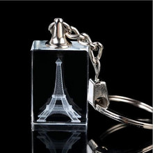Factory Wholesale Laser Eiffel Tower Blank Crystal Keychain with LED Light